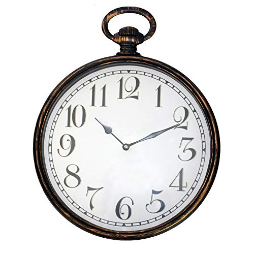 FISHTEC ® Wanduhr Vintage Gusset Watch - Große Zahlen - Funkgesteuert