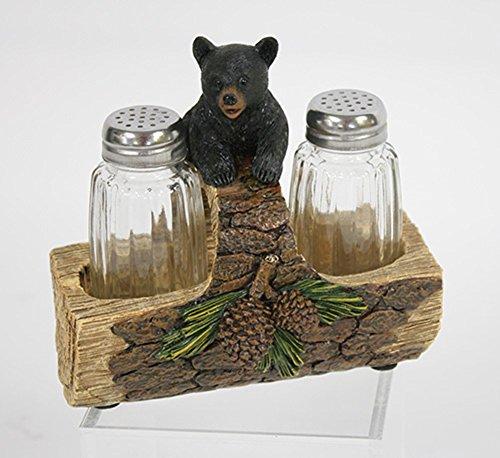 Log Bar (Schwarz Bär auf Log 15,2x 11,4x 15,2cm Kunstharz handgefertigten Salz und Pfeffer Shaker Set)