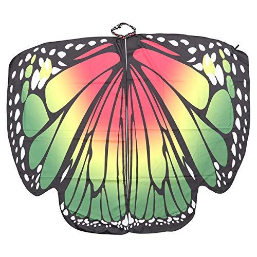 �r, Damen weiches Gewebe Schmetterlingsflügel Schal Fee Damen Nymph Pixie Halloween Cosplay Weihnachten Cosplay Kostüm Zubehör (grün) ()