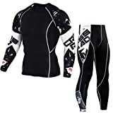 YiJee Uomo Sportivo Abbigliamento Manica Lunga Tight T-Shirt Fitness Jogging Pantaloni Compressione Come Immagine5 L