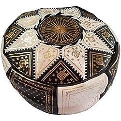 Etnico Arredo Puff Marroquí Puf Marruecos piel genuina Oriental reposapiés