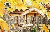 Vogelhaus Holz Birke Futterstation 19,5x19,5 cm Vogelfutterhaus Garten Balkon Terrasse