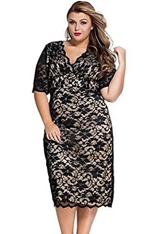 LETSDO Plus Size V-Neck manches demi dentelle Midi Dress (XL, Noir)
