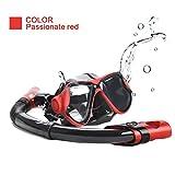 UMsky Maschera Snorkeling Adulto - Anti-Nebbia Set Maschera Subacquea, Anti-Leak Set da Snorkeling con Boccaglio Dry (red)