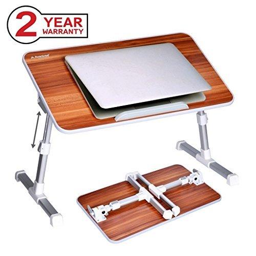 Avantree Verstellbarer Laptop Tisch Betttisch, Tragbarer Laptoptisch Bett Tablett Laptopständer, Klappbarer Sofa Frühstücks Tisch Notebooktisch Bücherständer - Minitable [2 Jahre Garantie]