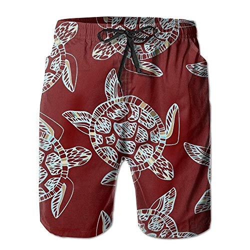 KAKICSA Mens Sea Turtle Shell Clip Art Summer Holiday Swim Pants Beach Shorts Board Shorts(XL)
