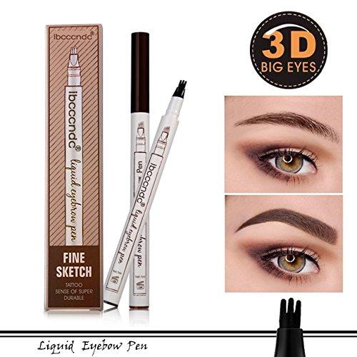 Fork Tattoo Crayon a Sourcil tatouage crayon à sourcils avec 4 conseils longue durée imperméable à leau gel pour les yeux Maquillage (Brown)