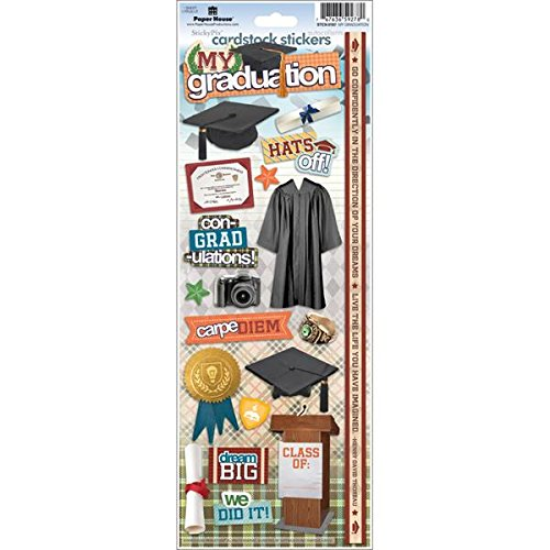 "Papier House Productions STCX-0187E Feste Karton-Aufkleber (Cardstock), mit englischsprachigen Motiven zu ""My Graduation"" (6er-Packung)"