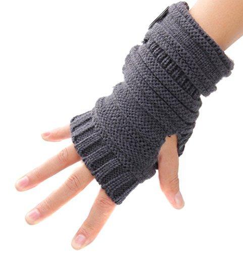 Butterme Unisex Winter Gestrickte Fingerlose Armstulpen Warm Strick Handschuhe Pulswärmer Handstulpen Armwärmer Stulpen für Damen Herren tiefen Tief Grau