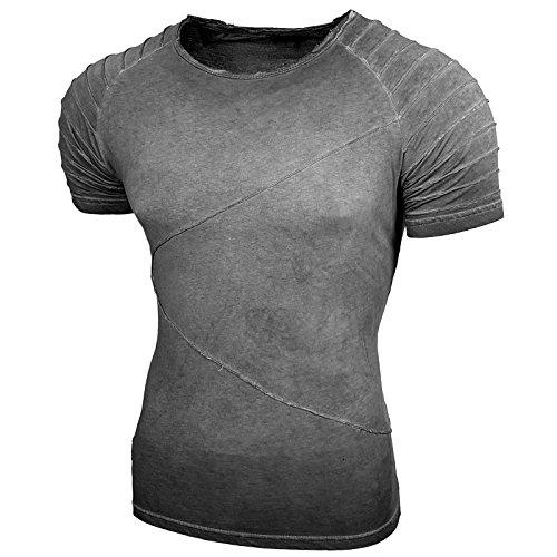 Rusty Neal Herren Rundhals T-Shirt Kurzarm Slim Fit Design Fashion Style 15049 Anthrazit