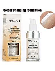 TLM Concealer Cover, 30ml Concealer -Abdeckung Flawless Farbwechsel Warmer Hautton Foundation Makeup Liquid Concealer