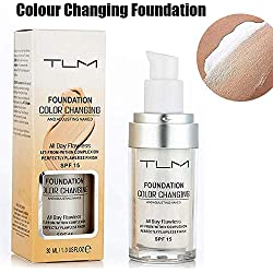 TLM Fondation liquide, Fond de teint changeant de couleur - Base de maquillage Nude - Correcteur de couvrance liquide BB creme Fond de Teint Couvrant Liquid Foundation
