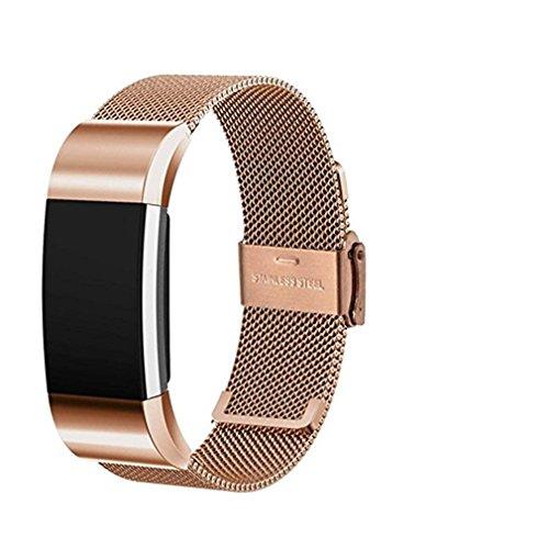 waroomvan Armbanduhr Big Förderung Edelstahl Metall Ersatz Zubehör Armband Gurt mit Einzigartige Magnet Lock VC Quick Release Verschluss Armband für Fitbit charge2 Quick-release-gurt
