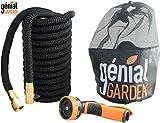 Génial Garden - Tuyau d'arrosage extensible et flexible Pro 110 Ft nouvelle génération ULTRA ROBUSTE avec connecteurs en laiton, valve d'arrêt, bagues de serrage en aluminium, gaine renforcée et pistolet 9 jets. Haute résistance prouvée 30 BARS,(33 mètres)
