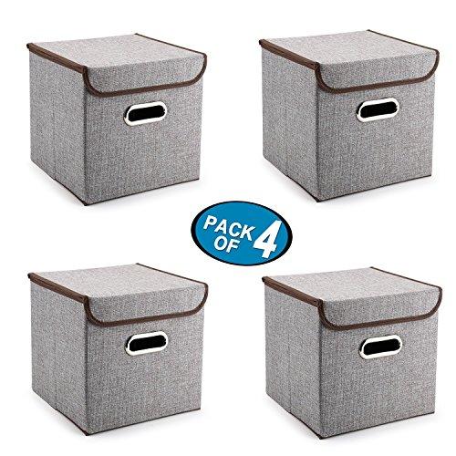 Kleinen Raum-storage-lösungen (Griffe Aufbewahrungsboxen Mee'life 4-Pack Leinen Stoff Faltbare Korb Würfel Organizer Boxen Container Schubladen mit Deckel und Griffe für Büro Kinderzimmer Schlafzimmer Shelf Grey)