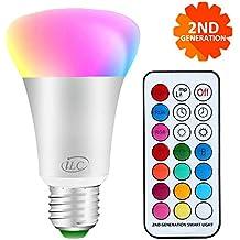 iLC dimmerabile Cambiare colore Lampadina 10W E27 RGBW LED Lampadine - 12 scelte di colore - Telecomando Incluso per Casa/Decorazione/Bar/Partito/KTV Umore Lighting Ambiance (Classe energetica A +)