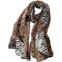5588f6d1f7e3 JAGENIE 180x90cm Women Girls Voile Long Shawl Elegant Leopard Grain Zebra  Striped Printed Scarf Beachwear Wrap