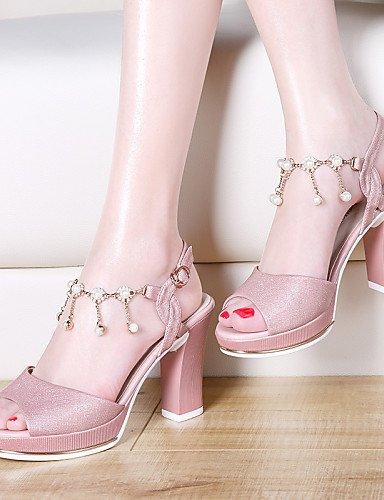 LFNLYX Chaussures Femme-Mariage / Bureau & Travail / Habillé / Décontracté / Soirée & Evénement-Rose / Blanc-Gros Talon-Bout Ouvert-Sandales- White