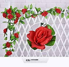 Fake Rose Vine Floral Garland Artificial Flowers for Hotel Wedding Home Party Garden Decor (Red)