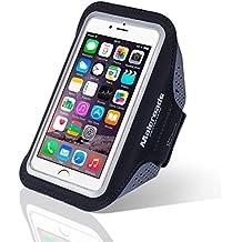 Para iphone 66S Funda de brazalete deportes correr brazo bolsa para Samsung S3S4Xiaomi 4ejercicio Running Senderismo resistente al agua sudor prueba teléfono móvil bolsa de brazo suave correa de muñeca también para otros teléfono móvil, negro