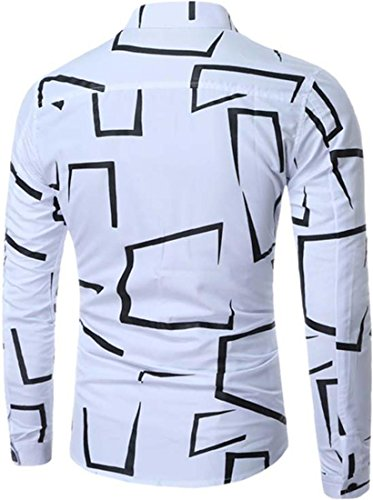 jeansian Herren Freizeit Hemden Shirt Tops Mode Langarmshirts Slim Fit Dress Shirts 84P0 White