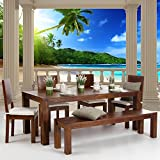 Liwwing, carta da parati in tessuto non tessuto di altissima qualità con motivo estivo e ambientazione in spiaggia con le palme, Terrace View Caribbean Beach, Fototapete 300x210cm | PREMIUM PLUS