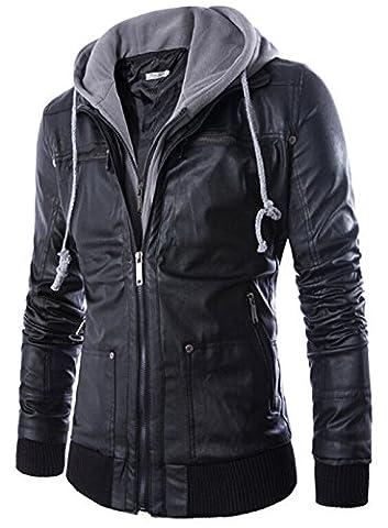 YYZYY Herren Kunst Leder Zipper Kapuzen Motorrad Jacke Mäntel Mens Hooded PU Leather Motorcycle Jackets Coats (DU/DE Medium, Black)