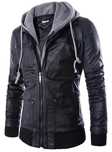 YYZYY Homme Avec Capuche en Cuir Moto Veste Blousons Manteaux Mens Hooded PU Leather Motorcycle Jackets Black