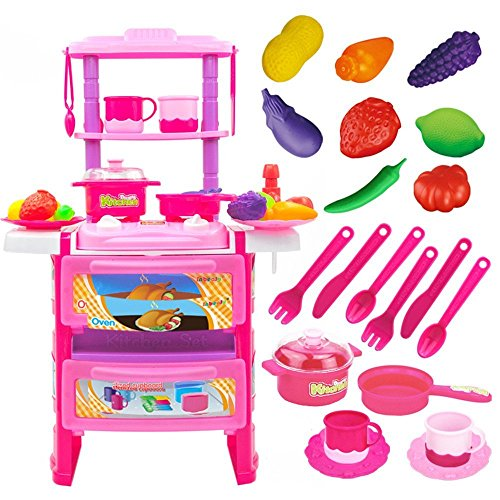 OWIKAR Kids Kitchen Pretend Toys Set, Children Simulation Kitchen Cooking Food Cookware Playset Toy Kit With Water Faucet Fruits and Vegetables Cutting Toys Educational Toy for Kids and Toddlers (Pink)
