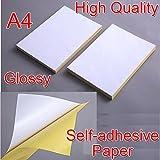 De alta calidad con una 21 x 29 cm A4 de color blanco Sticky brillante de funda auto-adhesiva de vinilo papel para imprimir de inyección de tinta de diseño de Simon ekrelius hoja de diseño de piel de para impresoras láser a Graphic de etiquetas para escribir direcciones Logística