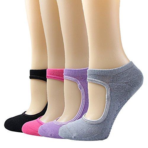 Yoga/Pilates Socken, Moliker Damen Socken für Kampfsport, Gym, Tanz, Stange Baumwolle Socken für Sport 4er Pack mit Gummipunkte gegen Rutsch (C002)