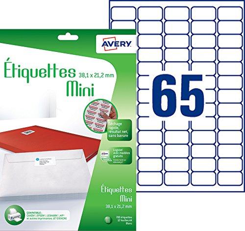 Avery 780 Etiquettes Mini Autocollantes 65 Par Feuille