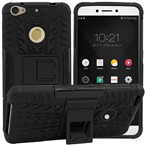 Kaira Hard Armor Hybrid Rubber Bumper Flip Stand Rugged Back Case Cover for LETV Le1s - Black