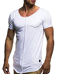 Naturazy Hombre Originales Moda Personalidad Manga Corta Irregular Personalidad Casual Deporte Camisas Moda Slim Remera Mangacorta