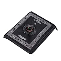 Portable Black Color Muslim Prayer Rug with Compass Pocket Size Prayer Mat ompass Qibla finder with Booklet Waterproof Material