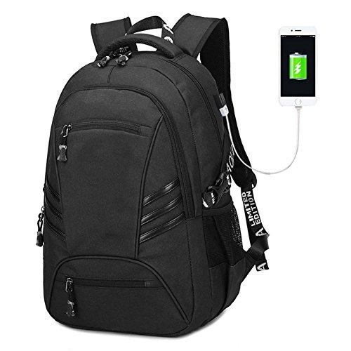 Maschio zaino casuale zaino laptop computer borse pvc oxford panno viaggio zainetto con interfaccia usb zaino, black