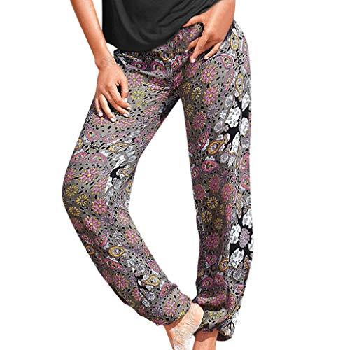 MOTOCO Frauen Hosen elastisch Bedruckt konisch Harem hohe Taille reguläre Hosen Harem Hosen Hippie Hosen Yoga für Frauen & Herren(XL,Grau-1)