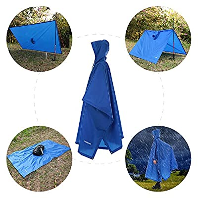 TOMSHOO Multifunctional Lightweight Raincoat with Hood Hiking Cycling Rain Cover Poncho Rain Coat Outdoor Camping Tent Mat from TOMSHOO