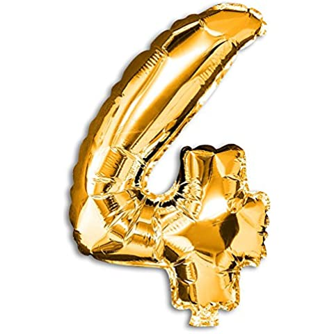 Soul cats® 1 St. número globo de la hoja de decoración con globos oro plata boda del cumpleaños del globo, Modelo: Modelo 4, color: