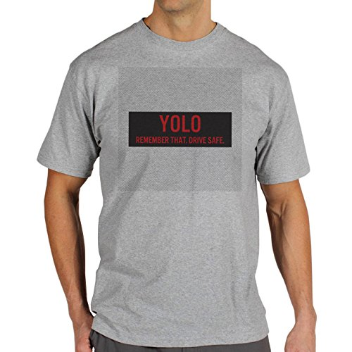 YOLO Remember That Drive Safe Red Background Herren T-Shirt Grau