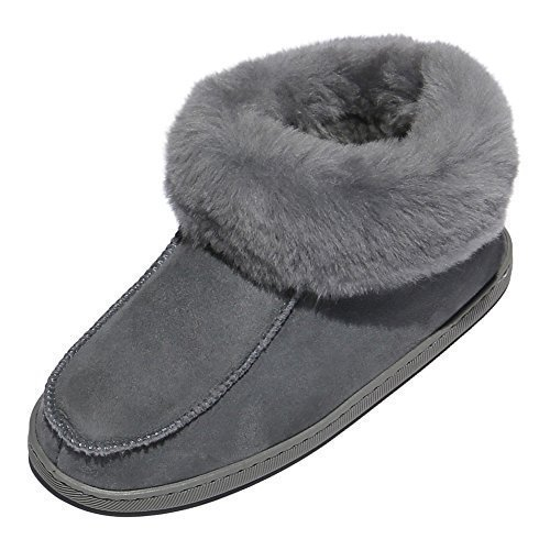 der-Fellmann Lammfell Hausschuhe Mokassin EWA Grau Schuhgröße EUR 37