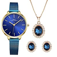 Women Watch Sets Quartz Wrist Watches with Rose Gold Earring and Necklace 3 Sets for Christmas Valentine's Day Gifts (6603 BE XL003)