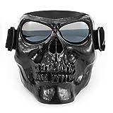 ishowstore Motorrad Offroad Riding Brillen Gläser mit Totenkopf-Maske open Face Helm