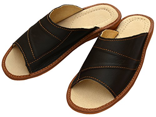 Genuine Mens Brown Grain Leather Slippers Slip-On Shoes Dark Brown
