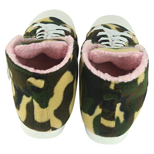 bequem Hausschuhe Pantoffeln Turnschuhe M盲nner kuschelig Home vielf盲ltig Sneaker mit Slipper f眉r Muster Gr眉n Armee R5qwqHp