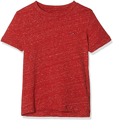Tommy hilfiger essential knit s/s, t-shirt bambino, rosso (apple red melange 611) 110 (taglia produttore: 5)