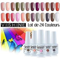 Vishine Vernis à Ongles Semi permanent Vernis Gels UV LED Soak Off Lot de 24 flacons Kit Manicure pour Ongle 8ml idéal cadeau Noël