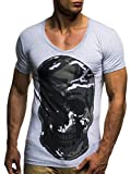 LEIF NELSON Herren T-Shirt Shirt Rundhals Sweatshirt Basic Shirt Crew Neck Totenkopf Oversize LN6291 S-XXL; Größe XL, Grau