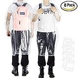 EnergeticSky ™ Portable Einweg-Regenmantel klar und transparent, Poncho mit Kapuze und Ärmeln Regenschutz für Erwachsene (8-Pack transparent)