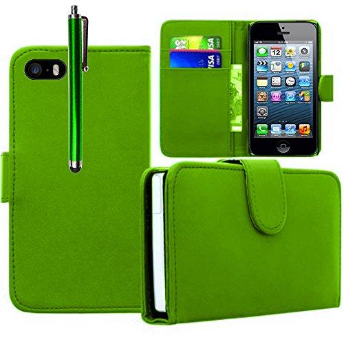 VCOMP® PU-Leder Handy Brieftasche mit Kartenfächer für Apple iPhone 5/ 5S/ SE - GRÜN GRÜN + Großer Eingabestift